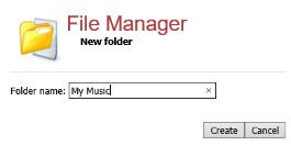File Manager - New Folder